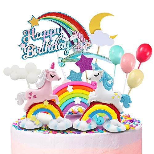 Humairc Einhorn Regenbogen Tortendeko Happy Birthday Torten Topper Luftballon Sternen Cake-Topper Kuchen Aufsätze für Mädchen Geburtstag