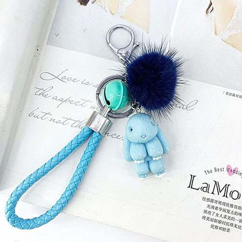 Rabbit Keychain Fluffy Fur Ball Key Chains for Women Bags Pendant Decoration Pom Poms Keyring Fashion Kids Easter Gifts Skyblue