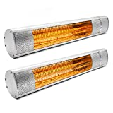 2x Kiam 2KW Electric Infrared Outdoor Garden Patio Heater Wall Mounted Water-resistant (IP65 rated) with Remote Control