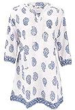 Guru-Boutique, Tunique Boho, Tunique Blouse Indienne, Mini Robe, Blanc/bleu, Coton, Size:XL (46), Blouses Tunikas