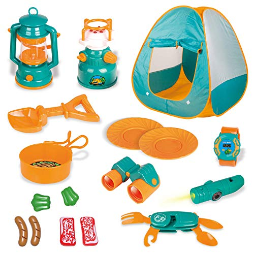 FUN LITTLE TOYS Kids Play Tent, Pop Up Tent with Kids Camping Gear Set, Outdoor Toys Camping Tools...