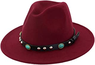 PengCheng Pang Women Men Wool Fedora Hat with Punk Belt Wide Brim Hat Outdoor Travel Casual Hat Size 56-58CM (Color : Wine red, Size : 56-58)