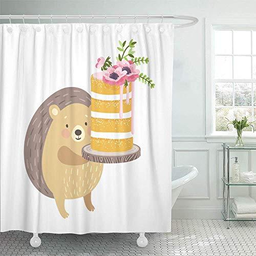 N\A Dekorativer Duschvorhang Geschichtetes Vanille-süßes Biskuit-Dessert, dekoriert mit Blumen & niedlichem Igel Wasserdichter, schimmelresistenter Badezimmerhaken-Set-Vorhang