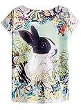 futurino Women's Bunny Blooding Eggs Print Short Sleeve Tops Casual Tee (S, Dutch Rabbit)