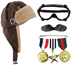 BROWN AVIATOR HAT WW2 PILOT FANCY DRESS CAP DISTRESSED LEATHER LOOK, MILITARY WAR MEDALS, STACHE + PILOTS GOOGLES AVIATOR GOGGLES ACCESSORIES (ONE SIZE - FITS UP TO 58CM HEAD) SUITABLE FOR 14 YEARS AND UP IDEAL ACCESSORIES SET FOR WAR TIME & PILOT FA...