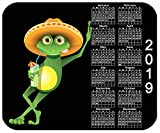 Benutzerdefinierte mauspad, Personalisierte mauspad mit 2019 jahreskalender-frosch mit getränk - fügen sie einen beliebigen text hinzu