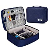Seagull Flight Of Fashion 2 Layered Zippered Electronic Organizer, Travel Cable Accessories Bag, Portable Storage Case for Cables, Charger, HDD, Power Bank, 24 x 18 x 10 cm (Navy Blue)