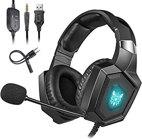 Cocoda Casque Gaming pour PS4, Xbox One(Adaptateur Nécessaire)/S/X, Casque Gamer Stéréo avec Micro d'Isolation du Bruit, RGB LED, Cache-Oreilles Doux pour Nintendo Switch(Audio) / PC/Smartphone
