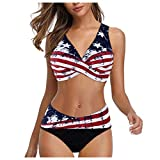 977 Women's Push Up Two Piece Bikini Low Waist Swimsuits Independence Day Flag Print Swimwear Bathing Suits Blue