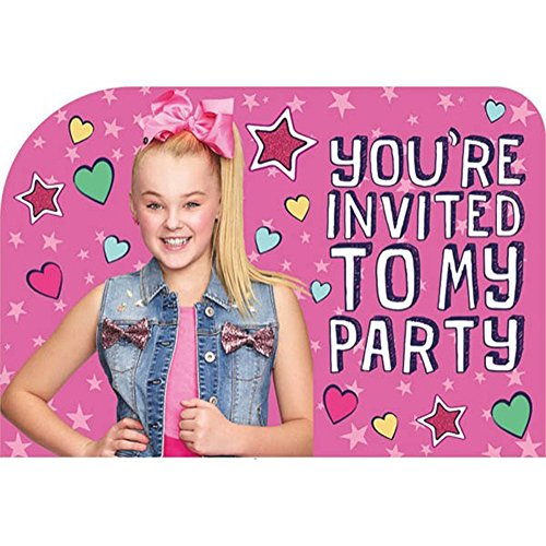 JoJo Siwa Pink Invitations w/Envelopes (8ct)