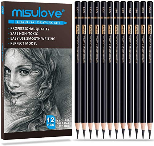 MISULOVE Professional Charcoal Pencils Drawing Set - 12 Pieces Soft, Medium & Hard Charcoal Pencils for Drawing, Sketching, Shading, Ideal Artist Pencils for Beginners & Artists