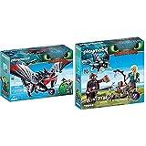 PLAYMOBIL DreamWorks Dragons Aguijón Venenoso y Crimmel, a Partir de 4 Años (70039) + HIPO y Astrid con Bebé Dragón