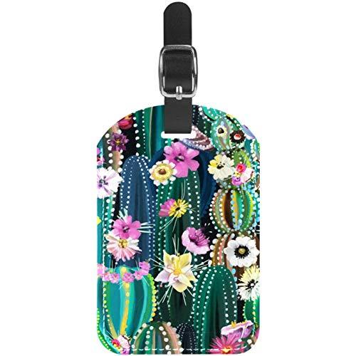 Kofferanhänger Kaktus mit Blüte Blumen Leder Reise Kofferetiketten 1 Packung