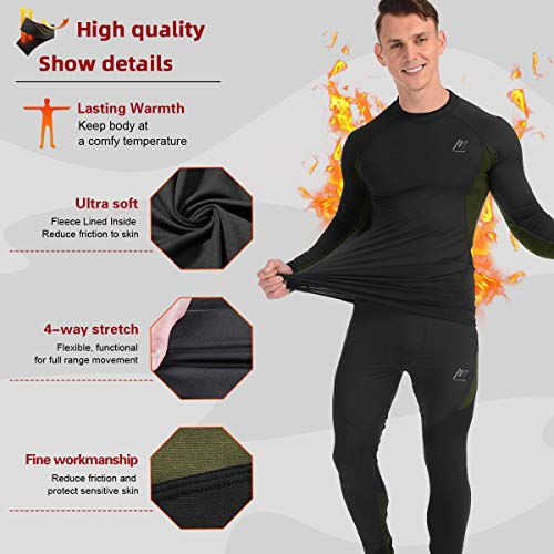 Product Image 2: MeetHoo Thermal Underwear for Men, Fleece Lined Base Layer Set Long Johns for Running Skiing Black