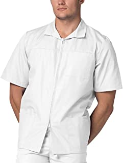 e4337dad6e7 Adar Universal Men's Zippered Short Sleeve Scrub Jacket (Available in 8  Solid Colors)