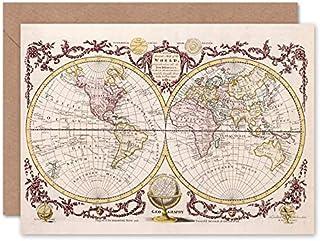 Fine Art Prints Gratulationskort med världskarta i vintagestil, med kuvert inuti, premiumkvalitet.