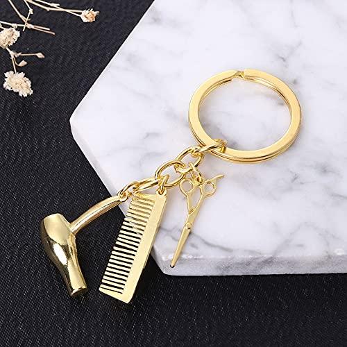 xingguang Llavero personalizado con diseño de personalidad, para secador de pelo, tijeras, llavero, llavero, herramienta de peluquería, tijera, regalo creativo (color oro)