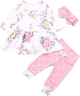 3pcs Cute Baby Girls Clothes Set Long Sleeve T-Shirt + Pants+Headband Kids Outfits Playwear