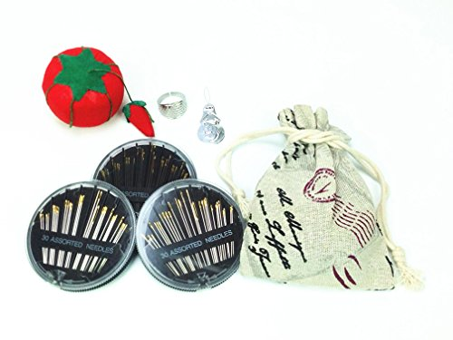 30-Count Assorted Hand Sewing Needles Large Eye Set, 3 Pack with Tomato Pin Cushion,Thimble,Needle Threader