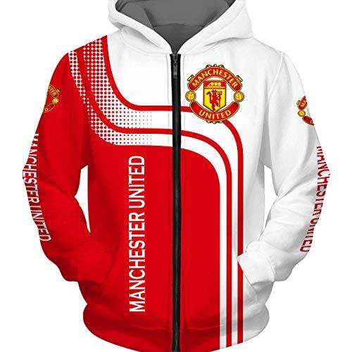 xiaosu Männer Hoodies Jacke Zum Manchester-United 3D Drucken Fußball-Verein-Fan Pullover/Zip Sweatshirts Tops Sport / B1 / M