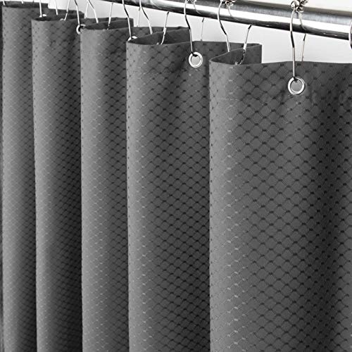 Eforcurtain Modern Fashion Waffle Jacquard Bathroom Curtain Waterproof Stall Extra Long 54 x 78 Inch, Durable Polyester Solid Charcoal Shower Curtain with 8 Grommets for Men and Boys