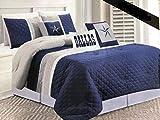 Texas Cowboys Western Star Design Quilt Bedspread Comforter Navy Blue - 6 Piece Set (King)