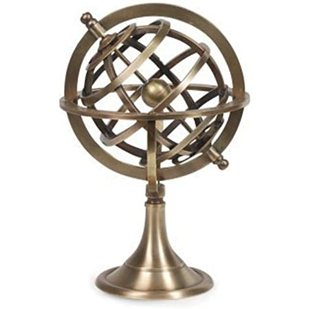 CAPRILO. Figura Decorativa Marinera de Latón Globo Esfera Armilar. Adornos y Esculturas. Decoración Hogar. Regalos Originales. 18 x 12 x 12 cm.