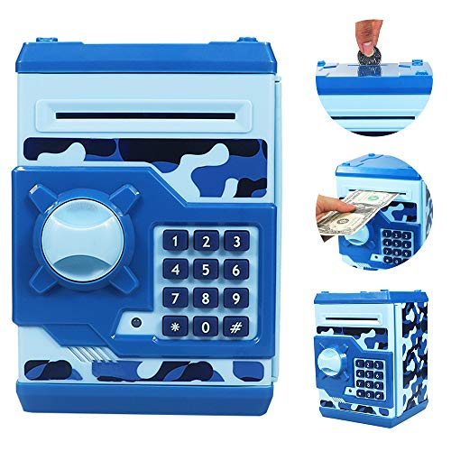 Brekya Mini ATM Piggy Bank Security Machine Best Gift for Kids,Electronic Code Piggy Bank Money Counter Safe Box Coin Bank for Boys Girls Password Lock (Camouflage Blue)