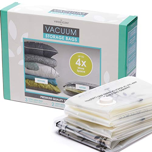 Viridescent® Reusable Vacuum Storage Bags with ZipSeal - 35% Thicker Plastic - Create 4 x More Storage Space - 5 pack, 2 x Large and 3 x Jumbo/Extra Large