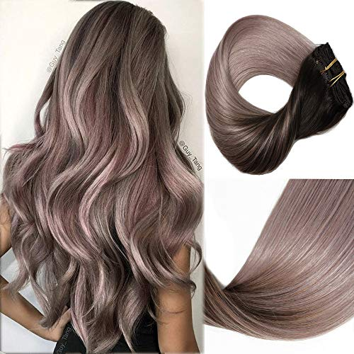 HUAYI Brown To Milky Lavender/Pink Mauve Ombre 120g 18inch 7Pcs Clip In Hair Extensions Human Hair Soft Thick End Tangle Free Durable Silky Straight Balayage Hair Extensions (2TG#18)