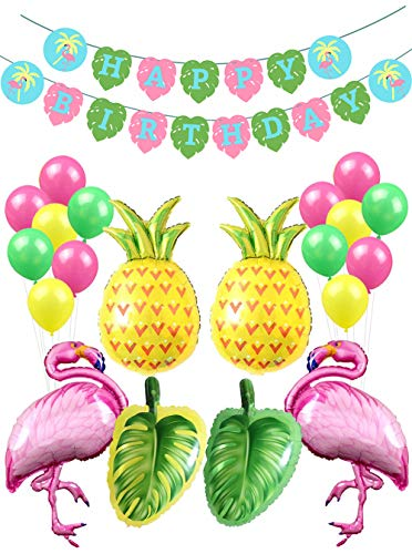Flamingo Fiesta Party Decorations-1 Happy Birthday Banner,2 Flamingo Pineapple Tropical Palm Leaves Mylar Balloons,18 Latex Balloons-Summer Beach Hawaii Luau Supplies and Favors for Baby Girls Kids 1st 2nd 3rd 4th Bday Decor