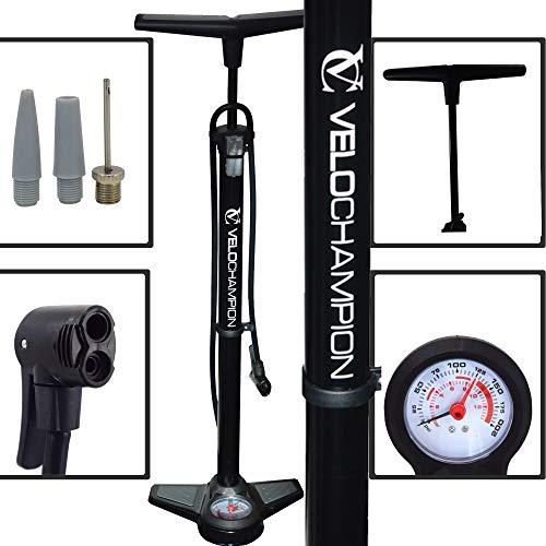 VeloChampion Bomba Pro De Bicicleta Profesional De Bastidor/Pie con Manómetro – La Mejor High Pressure Track Pump (Negro)