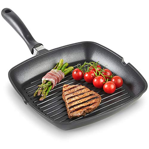 GETKO WITH DEVICE Square Aluminium Non-Stick Grill Pan - Frying Pan, 28CM (Black)