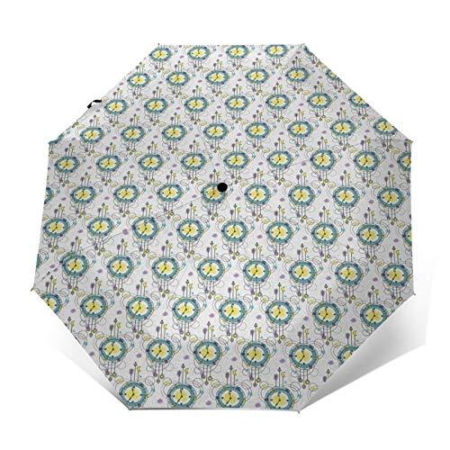 Paraguas Plegable Automático Impermeable Relojes Dot Timekeeper, Paraguas De Viaje Compacto a Prueba De Viento, Folding Umbrella, Dosel Reforzado, Mango Ergonómico