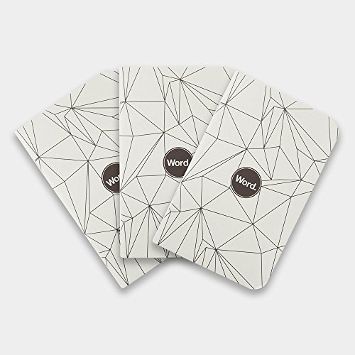 Word. 3 Pack Lined Acid Free Recycled Pocket Notebooks (Grey Polygon) Photo #1