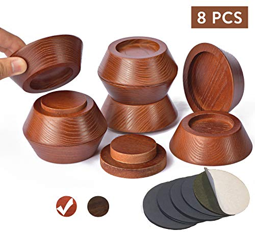 FASONLA Bed Risers (Set of 8) Furniture Risers Lifts Height 1', 2', 3' or 4', Solid Natural Wood Risers for Bed, Furniture, Table, Sofa, Chair with Non-Slip Recessed Hole (Dark Brown Color, 1 Inch)