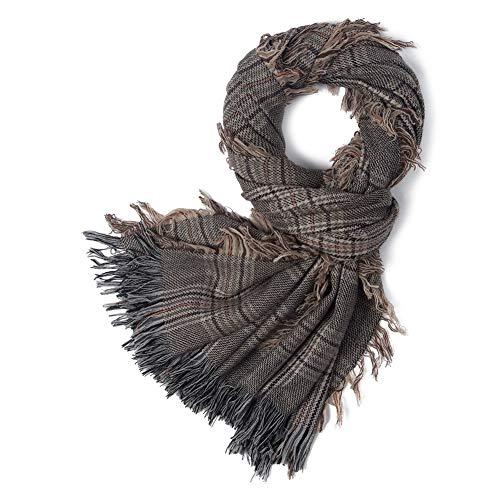TOUJIAXUN Braunes Plaid Schal Damen Herren Damenschal Winter Warm Lammwolle Kaschmir Pashmina Schals und Tücher Stola Wolle, Geschenke der Besten Freunde