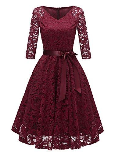 Uni-Wert Damen Cocktailkleid Elegant 3/4 Ärmel Floral Spitzenkleid Swing Abendkleider Rundhalsausschnitt Knielang Vintage Hochzeit Kleider