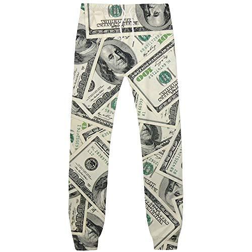 KYKU Money Pants for Men 3D Printing Novelty Dollar Bills Drawstring Trousers (Large, Money Pants)