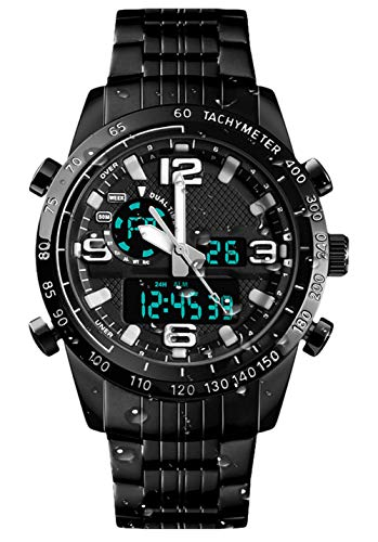 UEOTO Herren Analog Digital Quarz Uhr mit Edelstahl Armband, Schwarz Wasserdicht Digitaluhr für Herren Großes Gesicht Sportuhr Armbanduhr mit Stoppuhr/Alarm/12/24H für Sport Männer