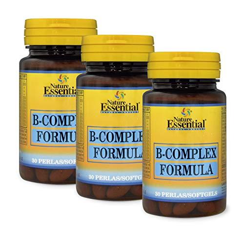 Nature Essential B-complex formula 500 mg con vitaminas C, E, B-1, B-2, B-3, B-5, B-6, B-9, B-12 y Biotina - 30 perlas, Pack 3 unididades