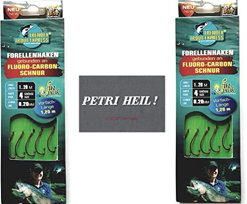 .Behr Set: 2 Packungen gebundene Forellenhaken (10 Stück) an Fluoro-Carbon Schnur, Hakengröße 4 + gratis Petri Heill! Aufkleber