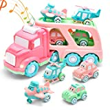 LASCOTON 5 in 1 Cartoon Vehicles Toy Cars for Girls Friction Powered Car Carrier Transport Truck with Light & Sound Toddle Play Cars Toy Cars/Airplane/Helicopter Birthday Gift for Girls Kids