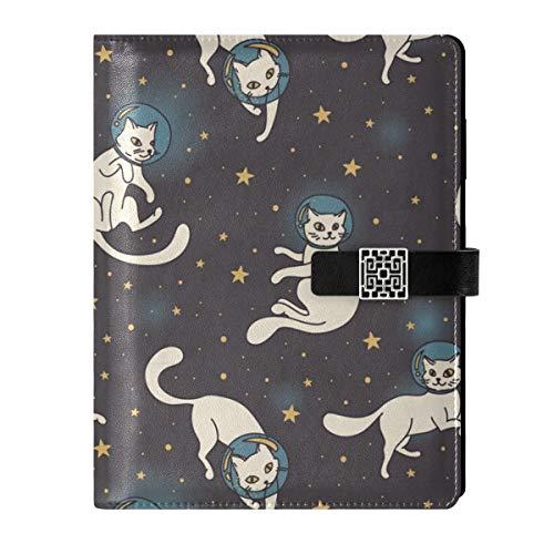 Cuaderno de cuero para diario, cuaderno de viaje, espacio de viaje, estrella de gato, rellenable, tamaño A5, cuaderno de tapa dura, regalo para hombres y mujeres