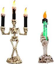 OSALADI 2pcs Halloween Skull Candles Lamp LED Candle Light Party Supplies Atmosphere Prop Silver Skeleton Lamp and Green G...