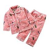 Conjunto de ropa para niñas de 0 a 10 años, pijama de dibujos animados, abrigos y pantalones de invierno, bonitos regalos de Pascua, juego de ropa de bebé para 4 a 5 años (rojo sandía)