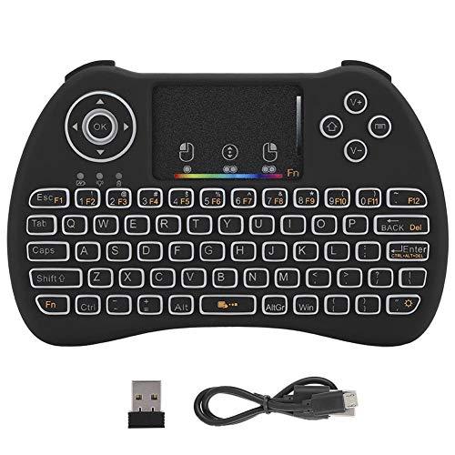 Dpofirs Mini Tastiera Wireless, retroilluminazione a Sette Colori Tastiera Touch Tastiera Portatile Tastiera Meccanica per PC Android TV Box Smart TV HTPC Smart Phone IPTV (OTG)