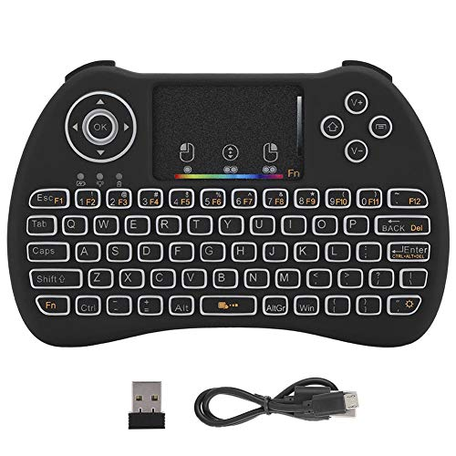 Junluck Mini Wireless Keyboard, Colorful Backlit Keyboard, 2.4Ghz Mechanical Gaming Keyboard with Touch Keypad for STB Laptop for X-Box, Memory Function & Multi-Finger Function
