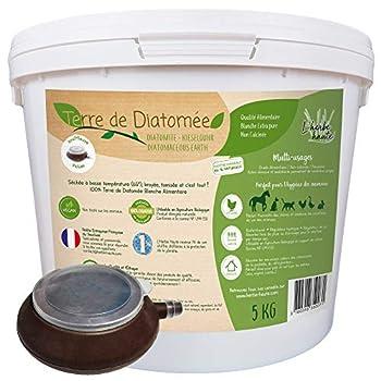 l'herbe Haute ® Terre de Diatomée Blanche Alimentaire - 5 kg Seau avec souffleuse - Utilisable en Agriculture Biologique - Origine Naturelle sans Transformation Chimique - Nombreux usages