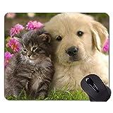 ステッチ付きマウスパッド、子猫動物かわいい子犬犬猫滑り止めラバーベースマウスパッド